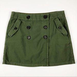 J. CREW Green Buttons Front Wrap Mini Skirt Sz 12